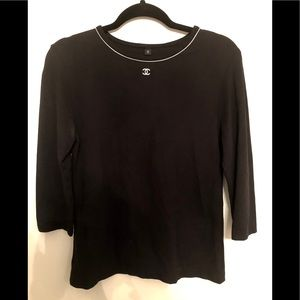CHANEL Black 3/4 Sleeve Top with Logo